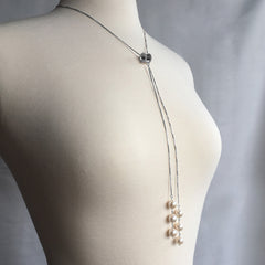 Dangling Long White Pearl Necklace Sterling Silver