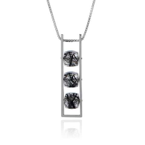 Contemporary Rectangle Necklace Black Rutilated Quartz