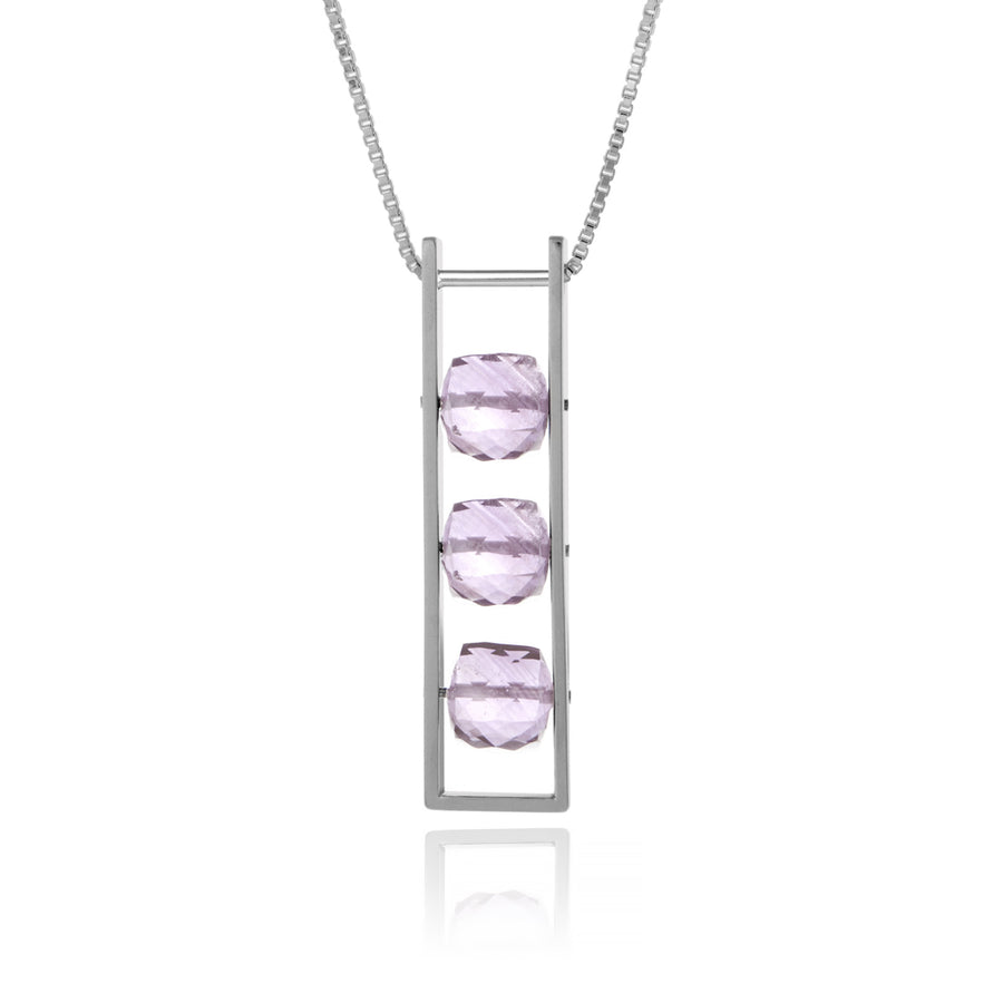Contemporary Rectangle Necklace Pink Amethyst Square Cube