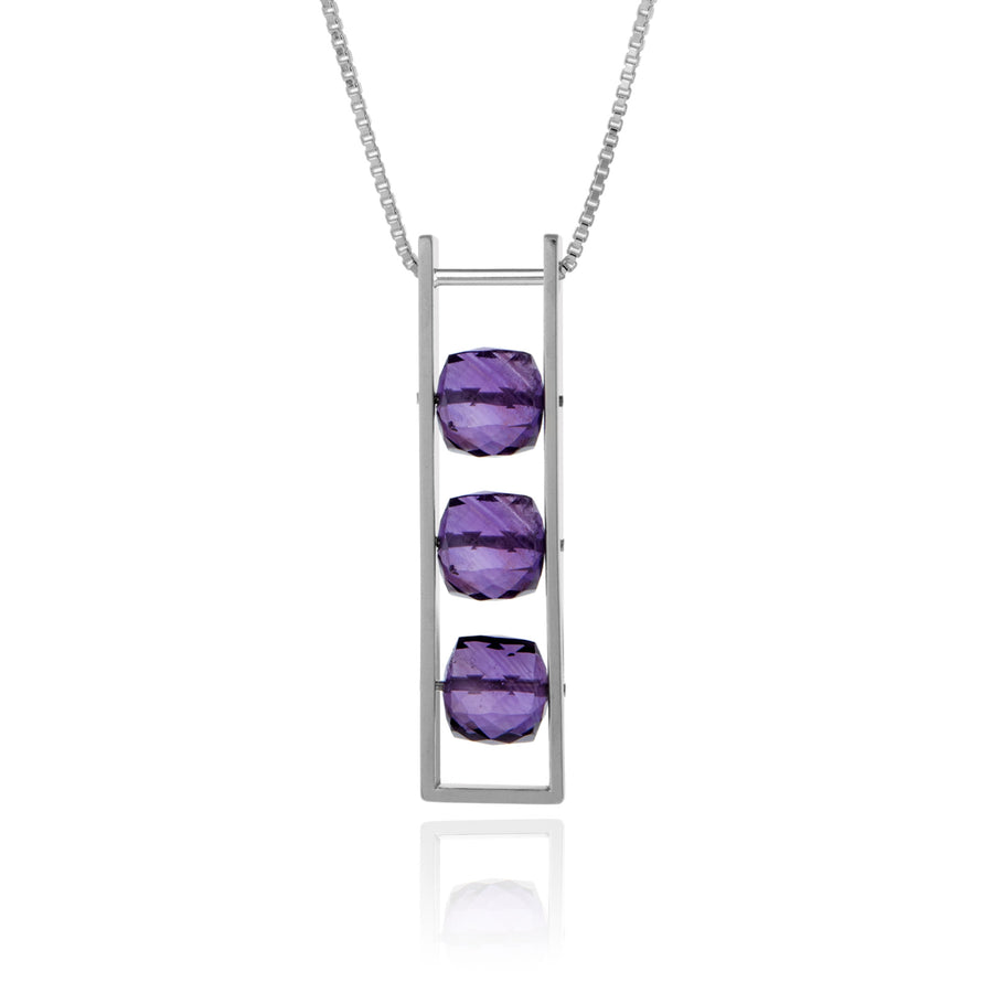 Contemporary Rectangle Necklace Purple Amethyst Square Cube