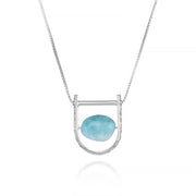 U Shape Foliage Pattern Sliding Bail Necklace Larimar Sterling Silver Contemporary