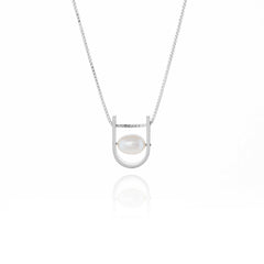 U: Small White Pearl Necklace Sterling Silver