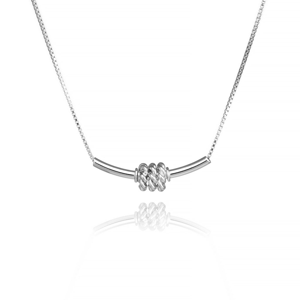 Tube Bar Necklace with Spinning Rings Sterling Silver