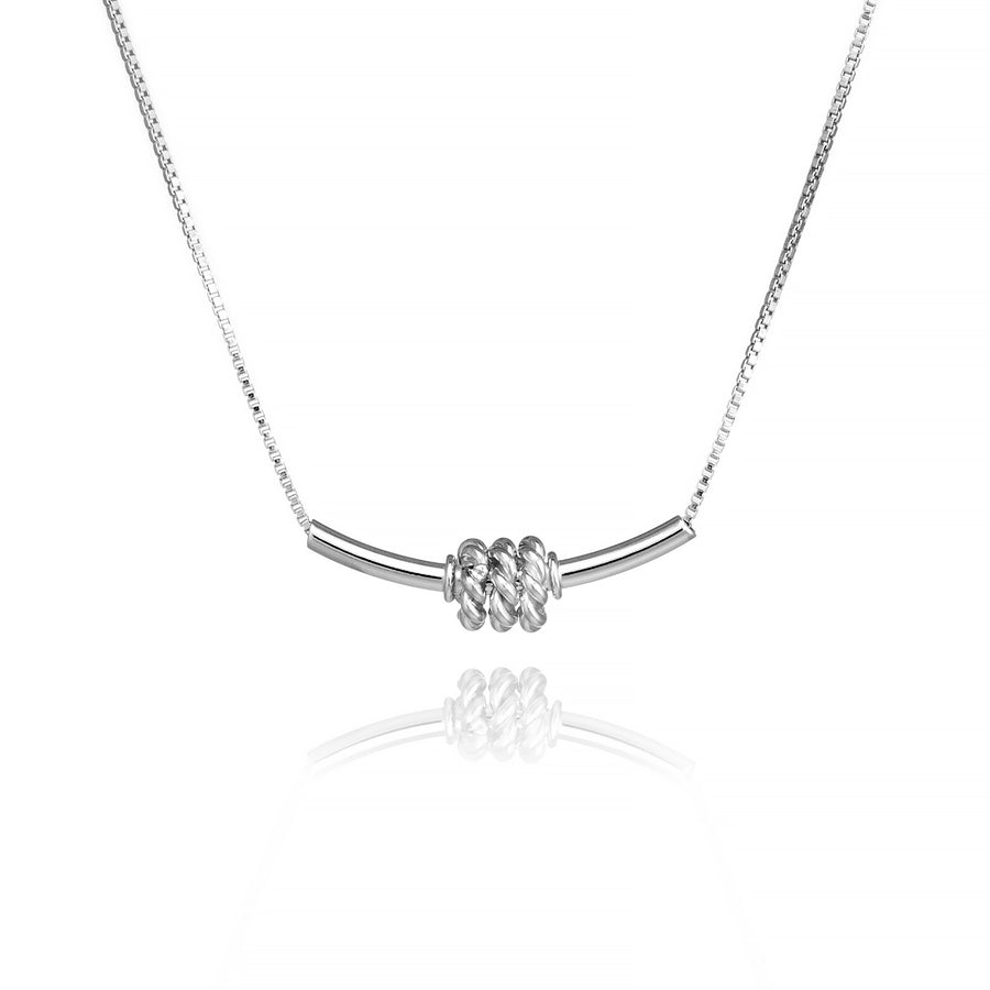 Tube Bar Necklace with Spinning Rings Sterling Silver Sliding Contemporary