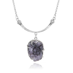 Hammered Curved Bar Necklace - Amethyst Geode