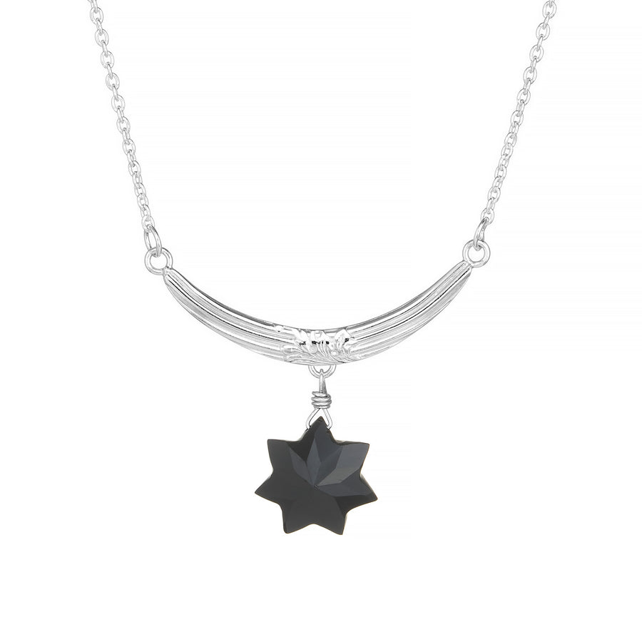 Star & Crescent Black Spinel Necklace Stripes Foliage