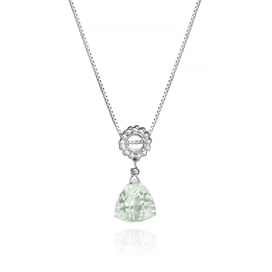 Trillion Green Amethyst Designer Necklace Sterling Silver Beaded Sliding Bail