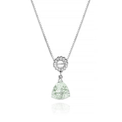 Trillion Green Amethyst Designer Necklace Sterling Silver