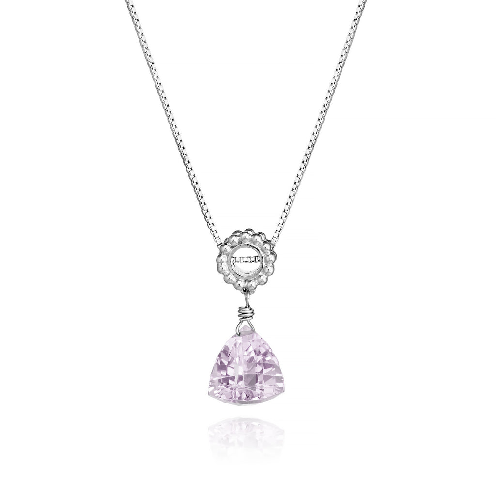 Trillion Pink Amethyst Designer Necklace Sterling Silver