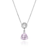 Pyramid Shaped Pink Amethyst Designer Necklace Sterling Silver Sliding Bail Handmade