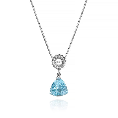 Trillion Sky Blue Topaz Designer Necklace Sterling Silver