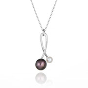 Black & White Pearl Orb Necklace Sterling Silver Handmade Contemporary