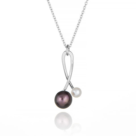 Black & White Pearl Orb Necklace