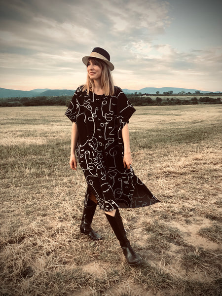 Faces Poncho Dress