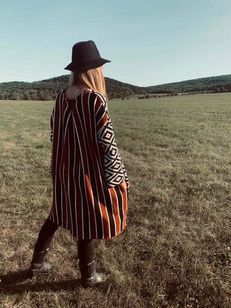 Aztec - Striped Poncho Dress