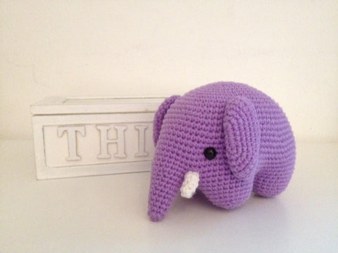 Purple crochet elephant.
