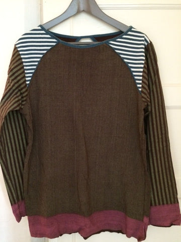 Burgundy stripe long sleeve top