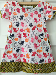 Cat short sleeve girls dress.