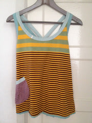 Small stripe cross-straped back vests