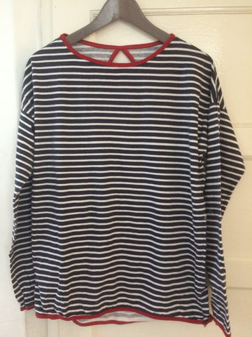 Stripe long sleeve tops