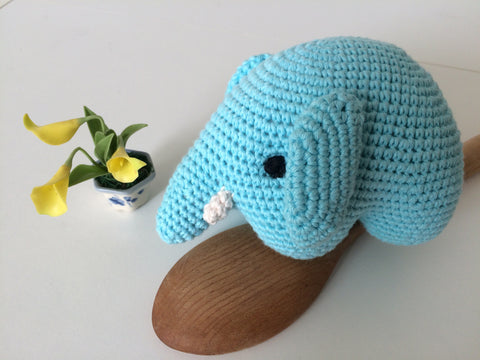 Blue crochet elephant.