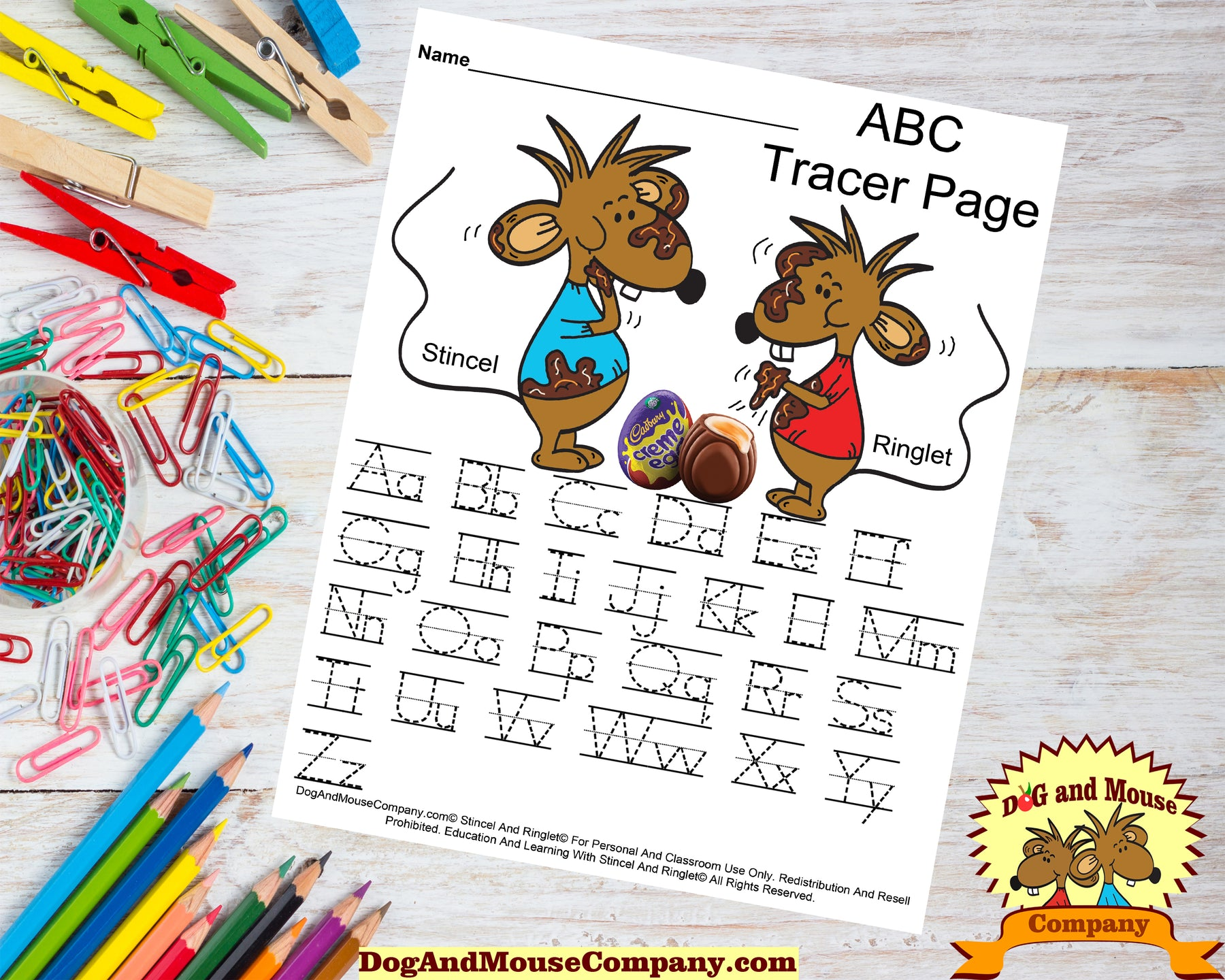 Easter ABC Tracer Page Preschool Worksheet. Stincel and Ringlet Eating Cadbury Eggs by DogAndMouseCompany.com
