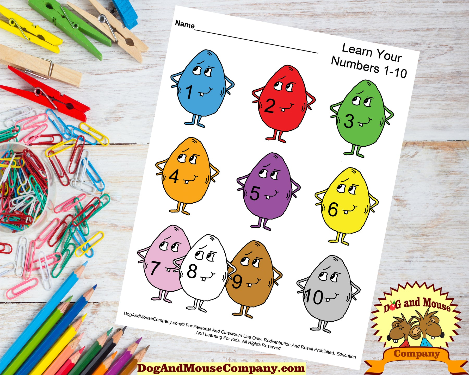Learn Your ABC's, Colors and Numbers With Easter Eggs Preschool Worksheets