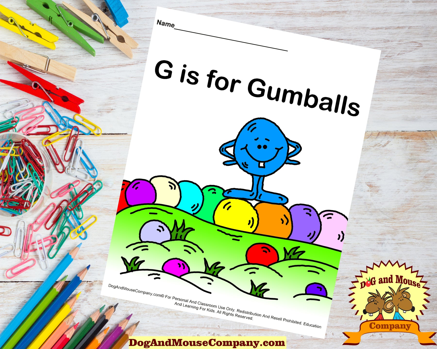 G is for gumballs colored template worksheet by DogAndMouseCompany.com