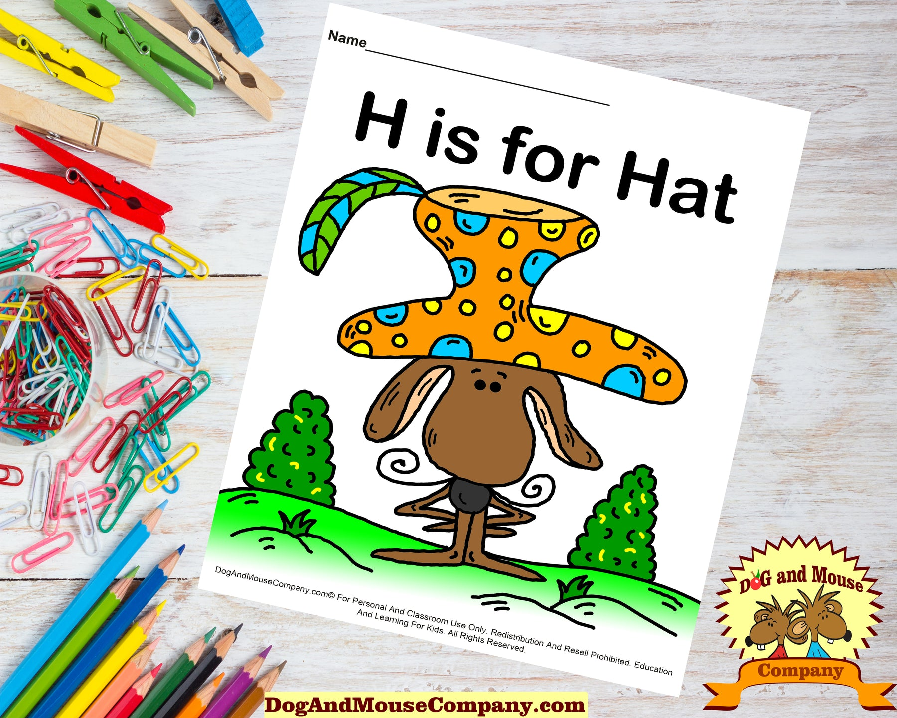 H is for Hat colored printable worksheet by dogandmousecompany.com