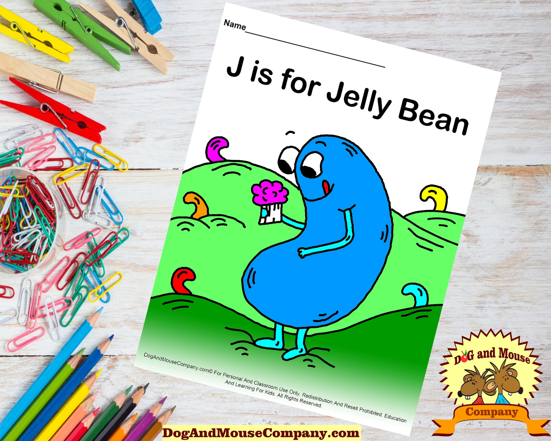 J Is For Jelly Beans Colored Printable Worksheet