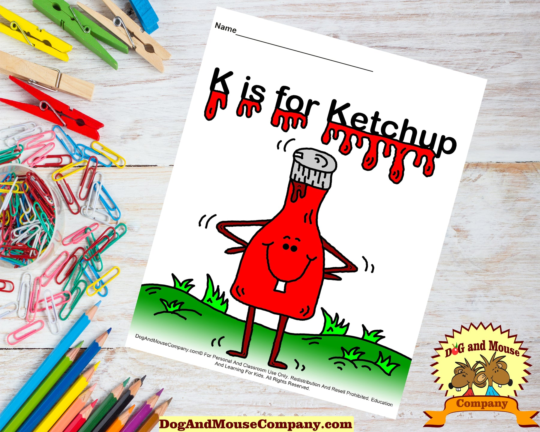 K Is For Ketchup Colored Template Worksheet