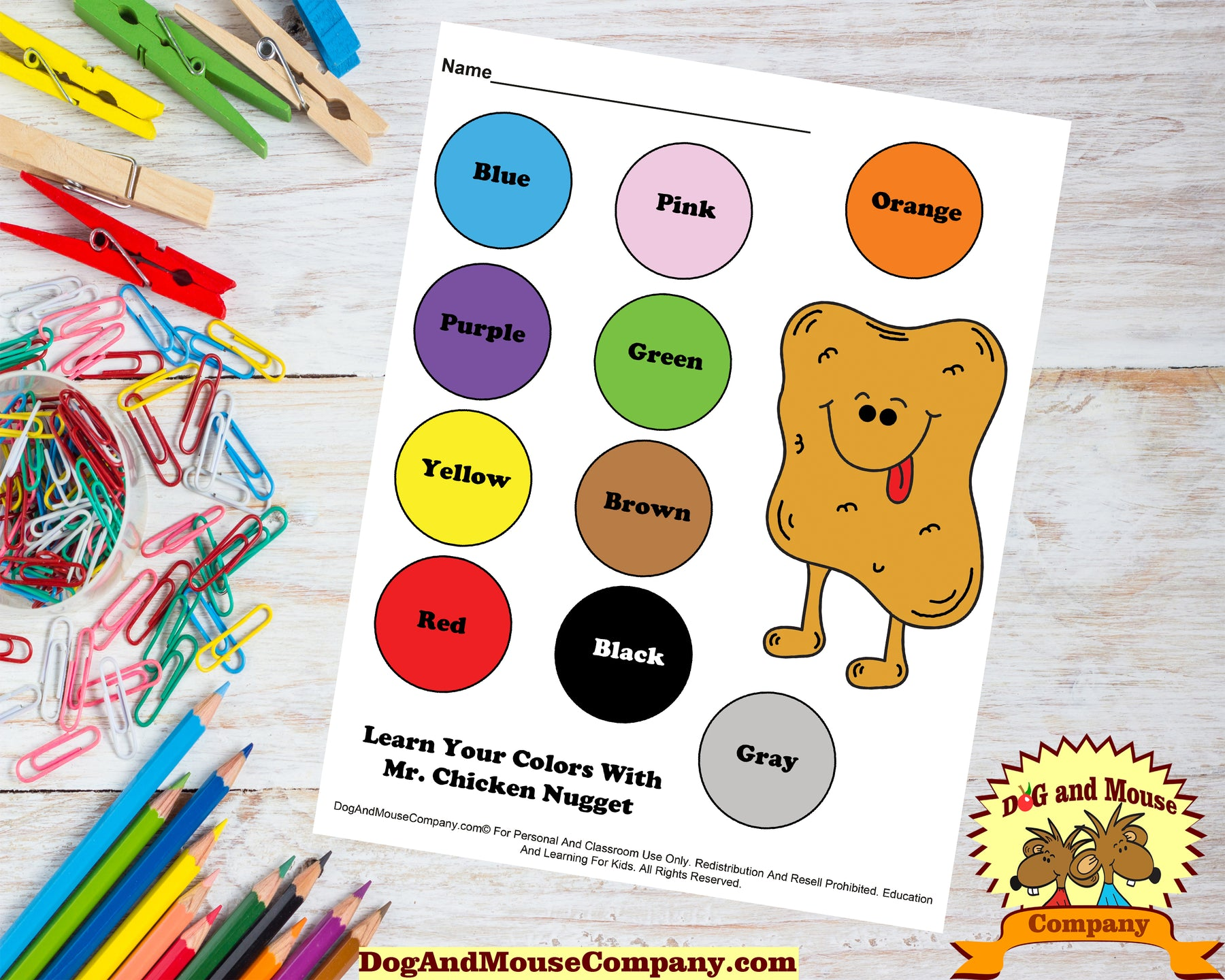 Learn Your Colors With Mr. Chicken Nugget Preschool Worksheets by dogandmousecompany.com