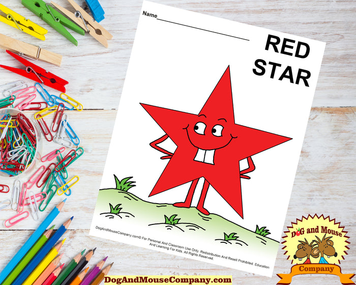 Learn Your Colors With Star Shapes Preschool Worksheets by DogAndMouseCompany.com