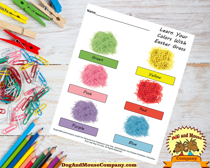 Learn Your Colors With Easter Grass by DogAndMouseCompany.com | Preschool Worksheets