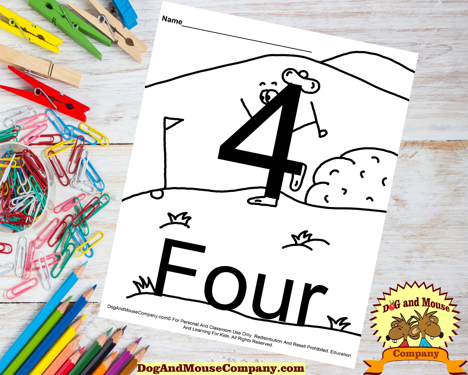 Learn The Number Four Coloring Page Preschool Worksheet by DogAndMouseCompany.com