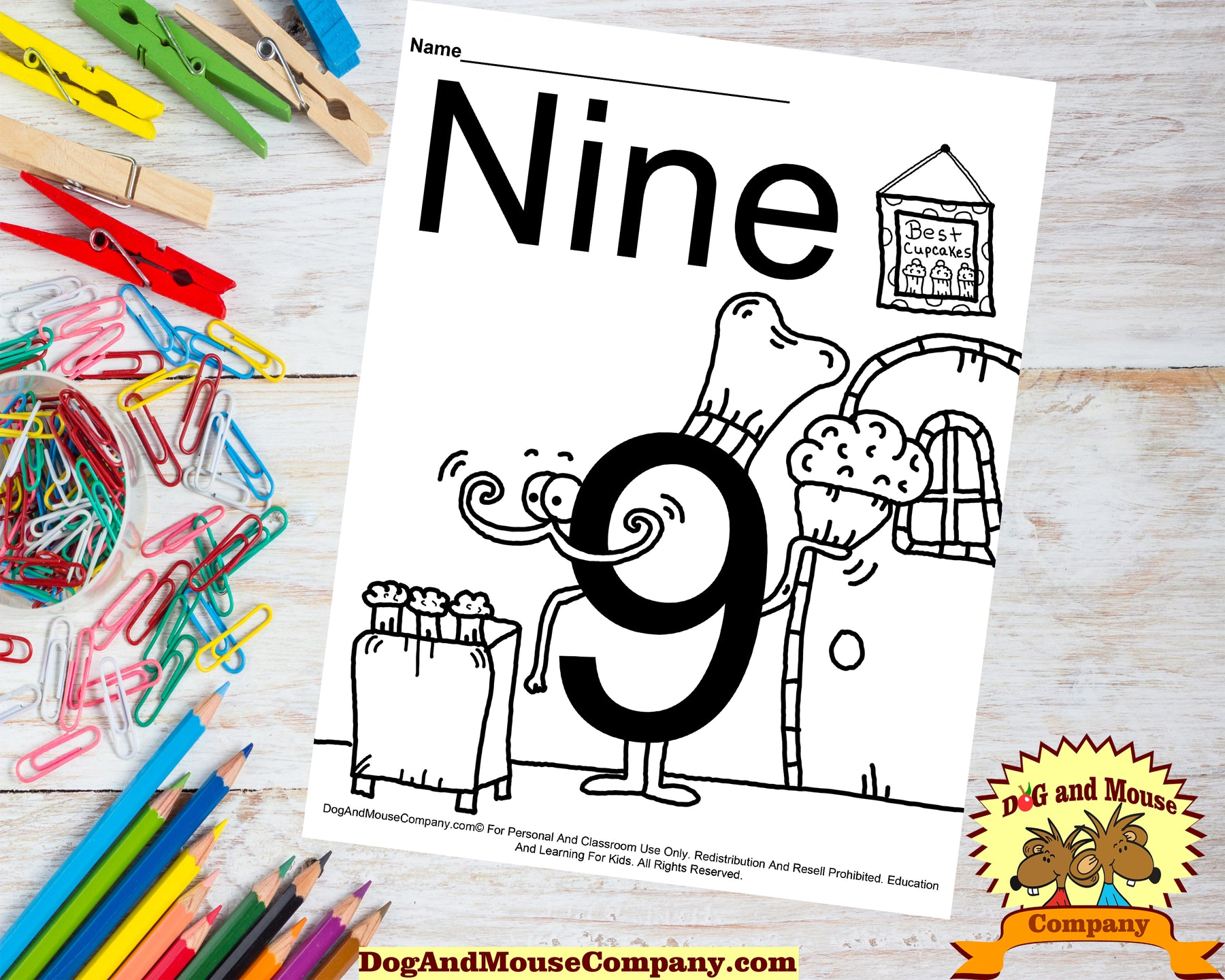 Learn The Number Nine Coloring Page Preschool Worksheet Digital Download by DogAndMouseCompany.com