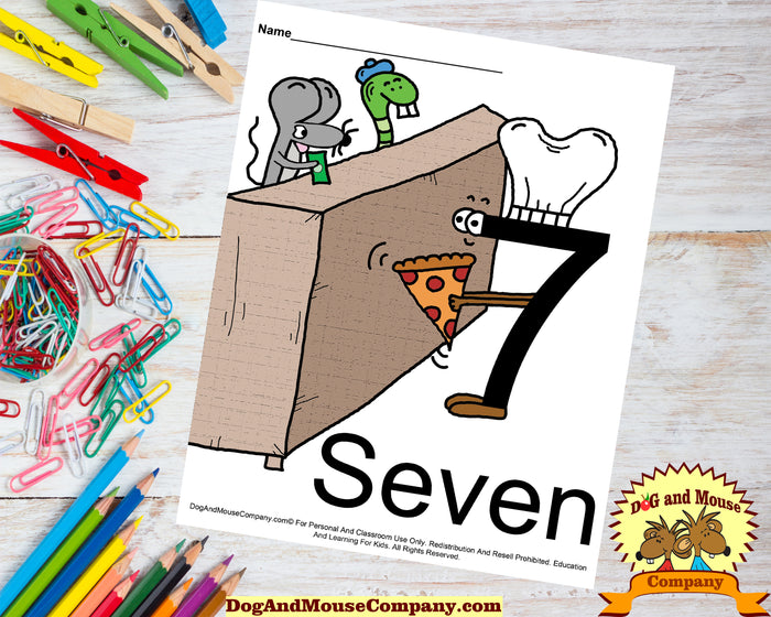 Learn The Number Seven Colored Template Preschool Worksheet Digital Download by DogAndMouseCompany.com
