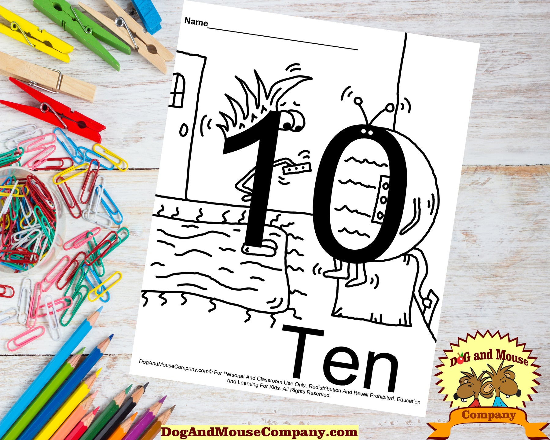 Learn The Number Ten Coloring Page Preschool Worksheet Digital Download by DogAndMouseCompany.com