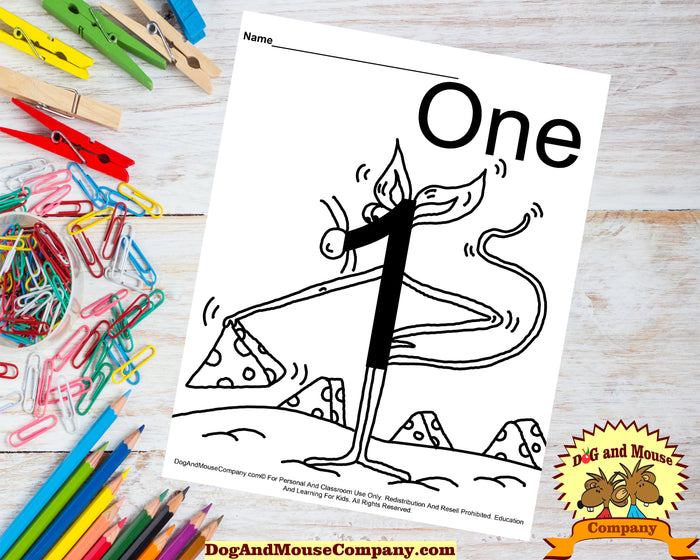 Learn The Number One With A Mouse Holding Cheese Coloring Page Preschool Worksheet by Dog And Mouse Company dogandmousecompany.com