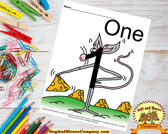 Learn The Number One With A Mouse Preschool Worksheet Colored Template by Dog And Mouse Company - dogandmousecompany.com