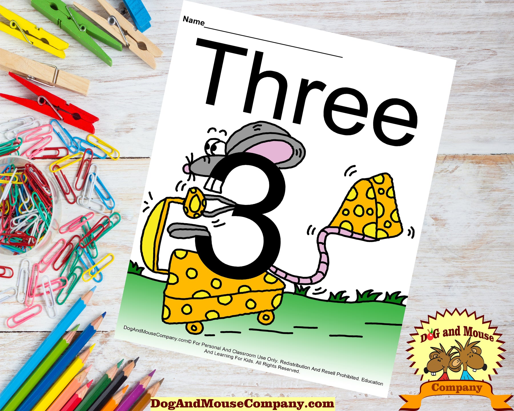 Learn The Number Three With Mice Colored Template by DogAndMouseCompany.com | Dog And Mouse Company | Mouse riding a car holding cheese in his tail