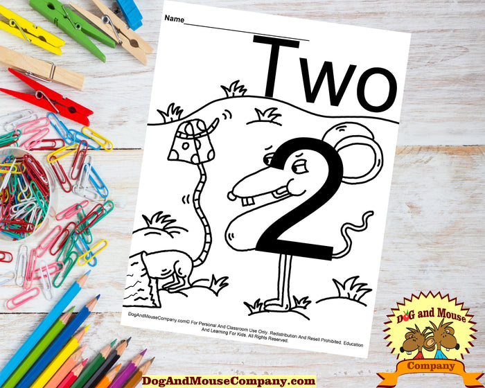 Learn The Number Two With Mice Coloring Page Preschool Worksheets by Dog And Mouse Company dogandmousecompany.com