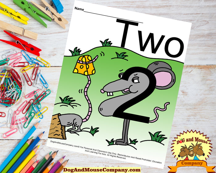 Learn The Number Two With A Mouse Holding A Piece Of Cheese Preschool Worksheet Digital Download by Dog And Mouse Company dogandmousecompany.com