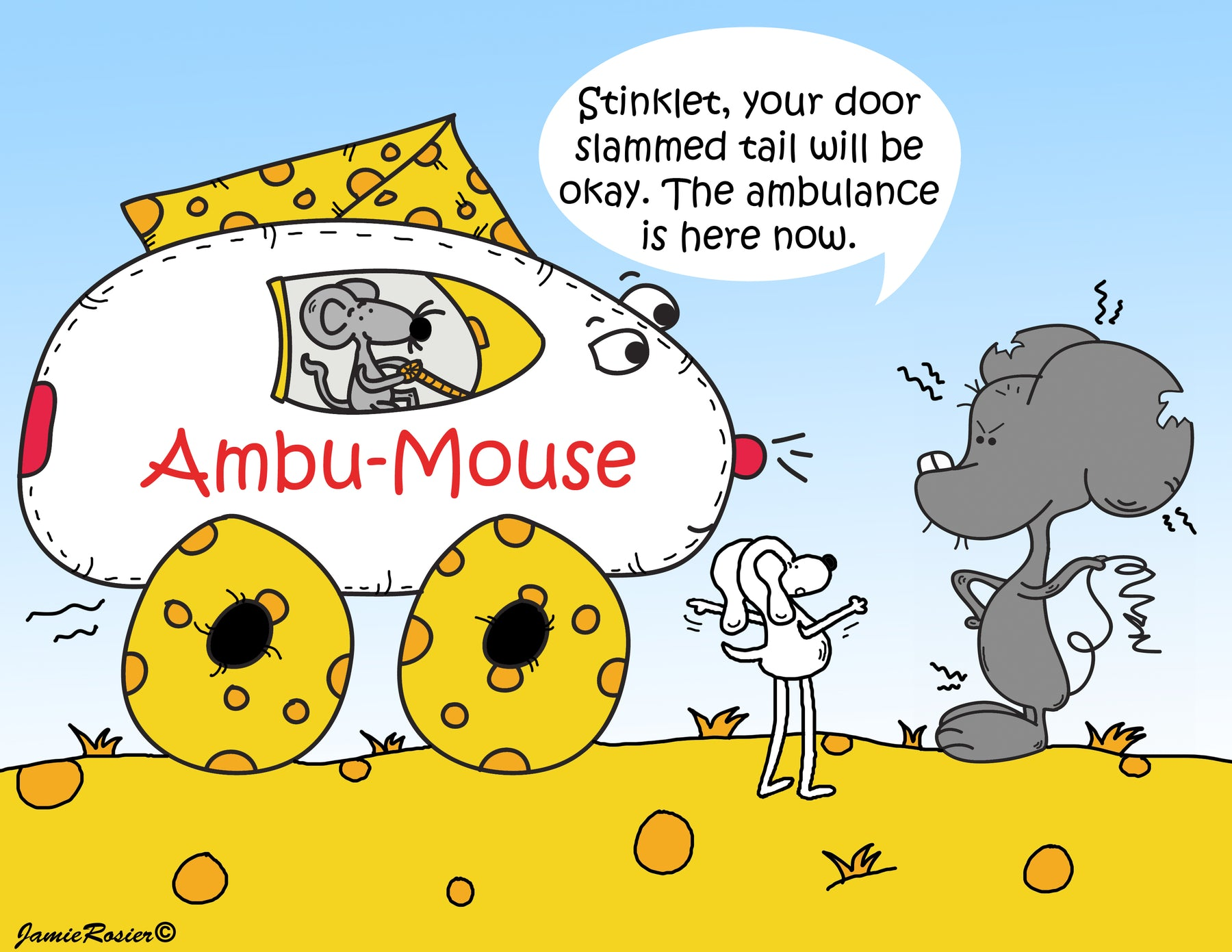 Meet Ambu-Mouse. He is the ambulance driver for the town of Cheeseville. His car is made of cheese. The roof of of his vehicle and tires are made of Cheddar cheese and the body is made of Mozzarella cheese. By Jamie Rosier © DogAndMouseCompany.com