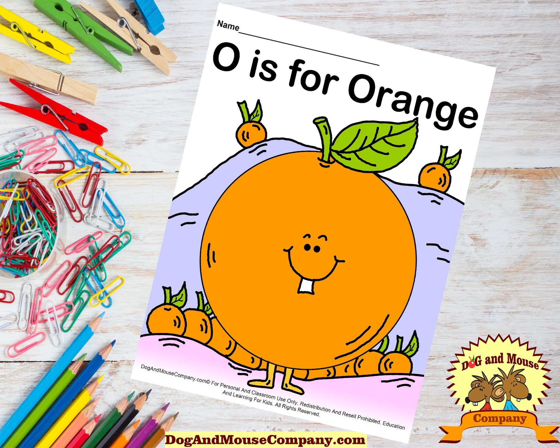O Is For Orange Colored Template Printable Worksheet for Preschool Kids by dogandmousecompany.com