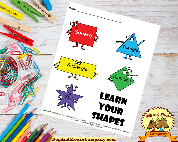 Learn Your Shapes Preschool Worksheet by DogAndMouseCompany.com | Dog And Mouse Company
