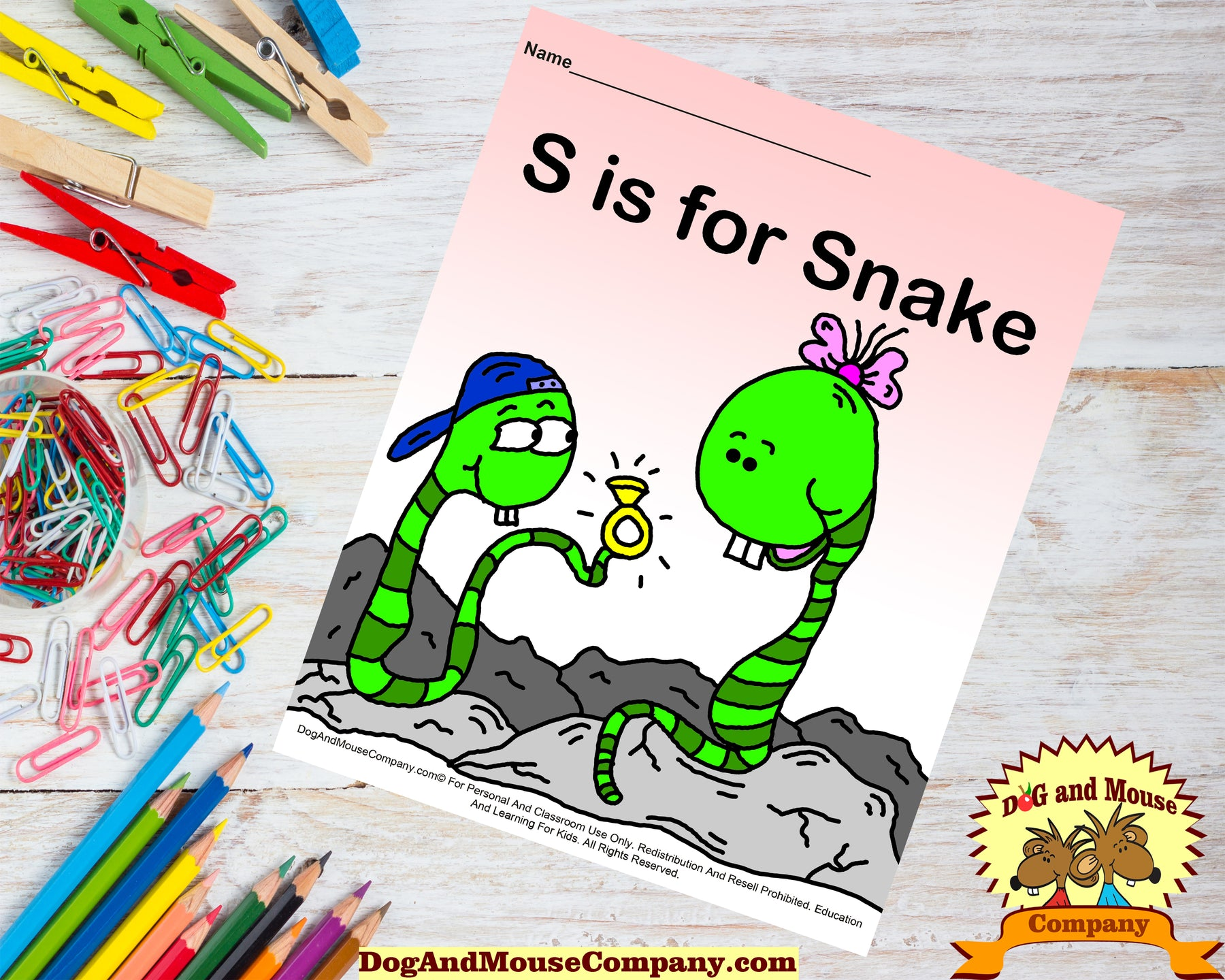 S Is For Snake Colored Page Printable Template Worksheet by DogAndMouseCompany.com