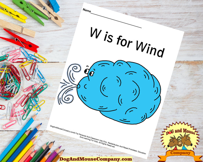 W Is For Wind Colored Printable Template