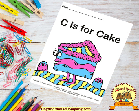 C is for Cake colored template digital download printable by DogAndMouseCompany.com