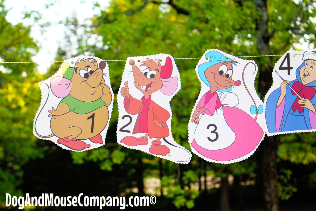 Cinderella Hanging Number Banner DIY Idea For Your Preschool Classroom Decorations by DogAndMouseCompany.com | Mice Mouse Gus Gus Fairy Godmother Lucifer